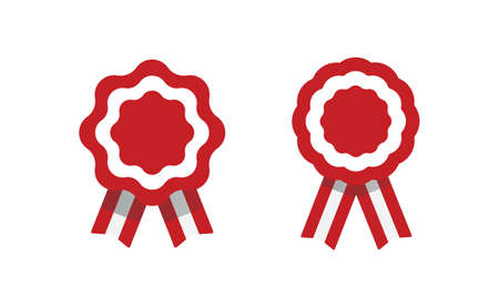 Peruvian cockade vector illustration. National symbol with Peru flag colors. Red and white rosette ribbon.