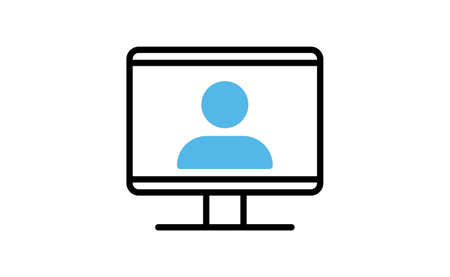 Video conference icon. People on computer screen. Home office in quarantine times. Virtual internet teaching media. Digital communication Illustration