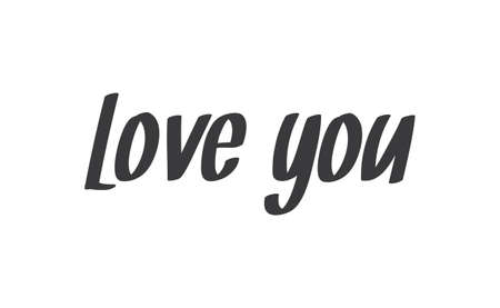 Love you, hand drawn lettering text. Handwritten style type. Archivio Fotografico - 151828101