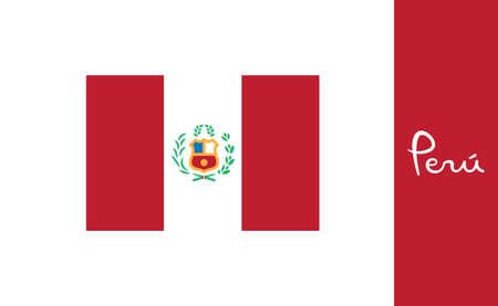 Flag of Peru. Peruvian national symbol vector illustration. Illustration