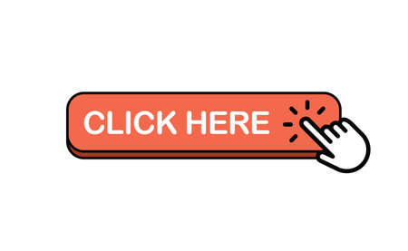 Click here web button. Isolated website buy or register bar icon with hand finger clicking cursor, design template.