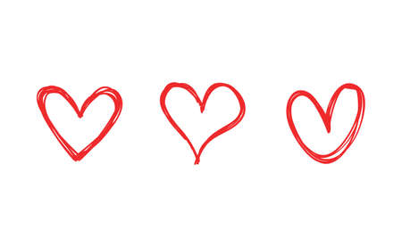 Heart doodles collection. Hand drawn hearts. Vector illustration set. Illustration