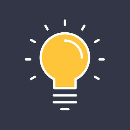 Light bulb shine icon. Idea lamp symbol.