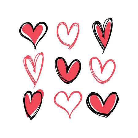 Heart doodles collection. Hand drawn hearts. Vector illustration set. 向量圖像