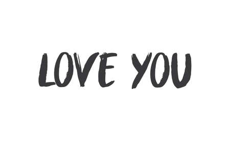 Love you, hand drawn lettering text. Handwritten style type.