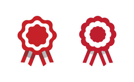 Peruvian cockade vector illustration. National symbol with Peru flag colors. Red and white rosette ribbon. Illustration