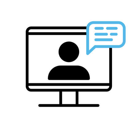 Video conference icon. Person on computer screen. Home office. Digital communication. Internet teaching media.