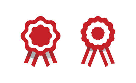Peruvian cockade vector illustration. National symbol with Peru flag colors. Red and white rosette ribbon. 向量圖像