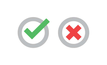 Check marks. Tick and cross vector icons. Yes and No symbols. Checkmarks.