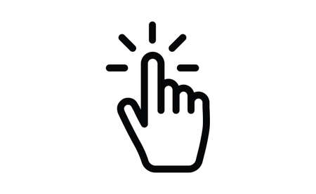 Hand click icon. Vector mouse pointer symbol.