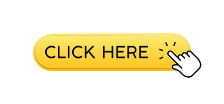 Click here button with hand clicking icon. 3d shiny style vector.