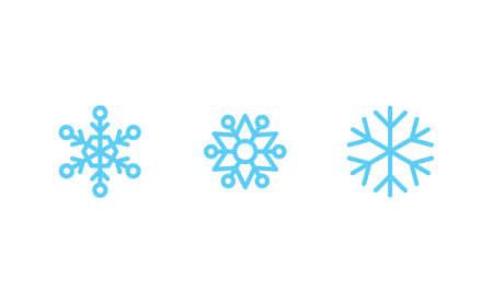Snowflake icons. Set of snow flake linear symbols. Christmas winter time.