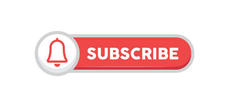 Subscribe red button with bell icon. Subscription to channel in social media. Flat style vector design.