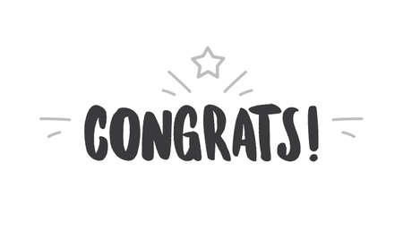 Congrats! lettering typography. Motivational congratulations text.