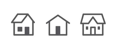 House vector icon collection. Home linear pictogram set.