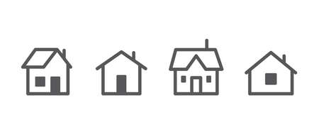 House vector icon collection. Home linear pictogram set. Vettoriali