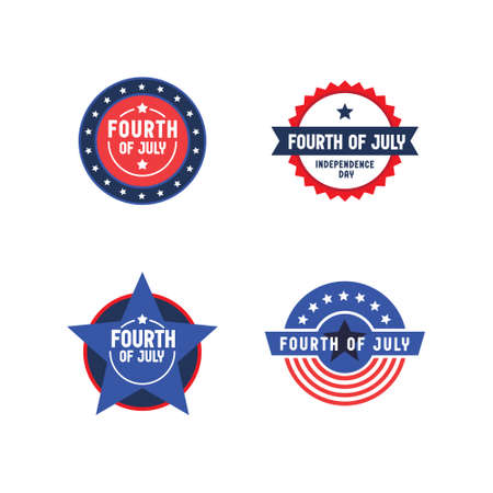 Set of 4th of July badges. Vector design for United States of America patriotic celebration. American independence day banners.