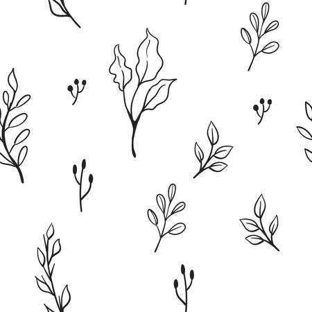 Floral doodle elements seamless texture. Hand drawn decorative leaves and wreaths texture background. Tree branches with leaf illustrations. Vettoriali
