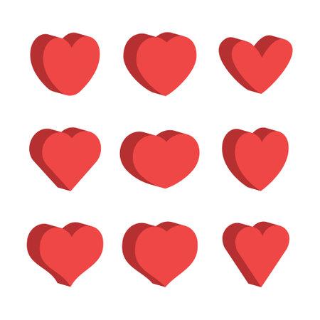 3d heart set, flat style design. Love symbol for valentine's day. Vettoriali