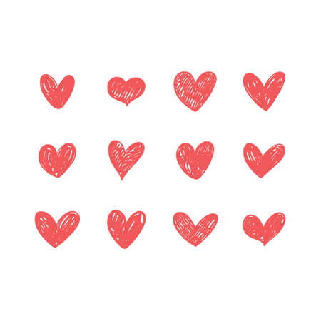Hand drawn hearts. Love handmade illustrations. Heart doodle collection. Vettoriali