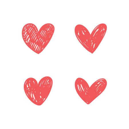 Hand drawn hearts. Love handmade illustrations.