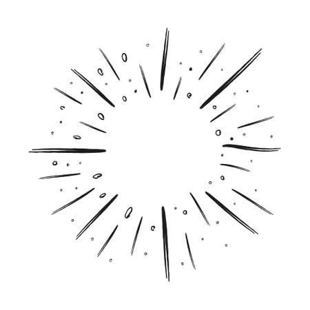Star burst or sunburst doodle illustration. Hand drawn firework design element. Vector illustration. Vettoriali