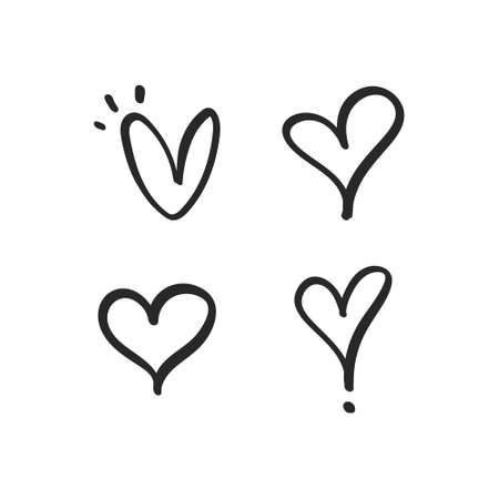 Heart doodles. Hand drawn hearts collection. Love illustration designs.