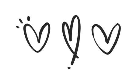 Hand drawn hearts. Love symbol. Illustration doodles. Vettoriali