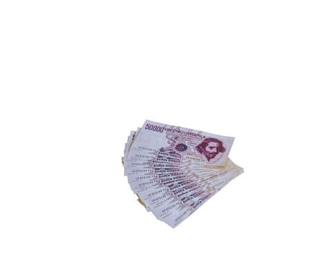 fifty dollar bill: many Money Placed vertically on the table