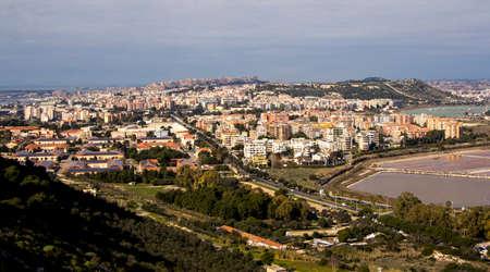 parte: Panoramica di Cagliari e parte dello stagno di Molentargius Stock Photo