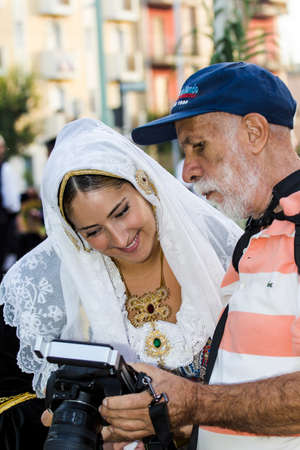 he is a traditional: SELARGIUS, ITALIA - 2015 SETTEMBRE 13: Antico sposalizio selargino - Sardegna Editorial