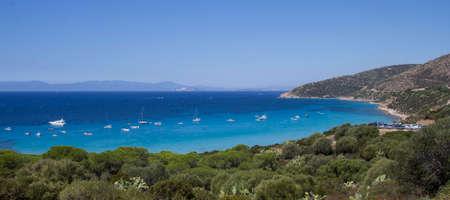 south coast: Panorama of the south coast of Sardinia - pintau Sea Stock Photo
