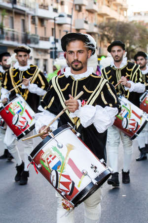 customs and celebrations: QUARTU SE, ITALY - July 15, 2016: 30 ^ Sciampitta - International Folklore Festival - Drummers and trumpeters of Oristano - Sardinia