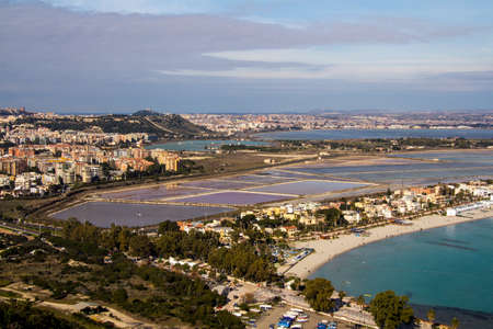 Panorama of Cagliari and Molentargius pond and part of Poetto beach - Sardinia