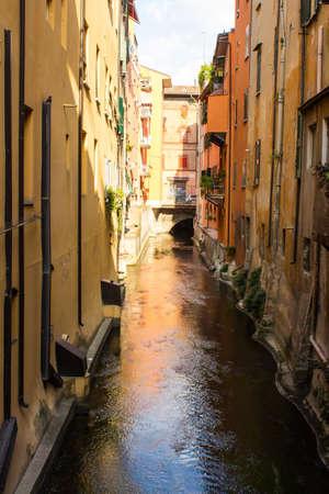 BOLOGNA, ITALY - JULY 22, 2017: a watercourse flowing below Via Piella - Emilia Romagna