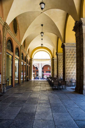 BOLOGNA, ITALY - JULY 22, 2017: the porticoes of the historic center - Emilia Romagna