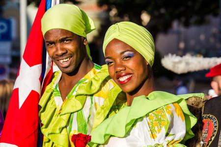 QUARTU SE, ITALY - JULY 15, 2016: 30 ^ Sciampitta - International Folklore Festival - Maraguan Group of the Camarguey University (Havana - Cuba) - Sardinia