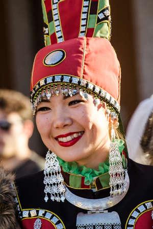 QUARTU S.E., ITALIA - LUGLIO 15, 2016: 30^ Sciampitta - Festa internazionale del folklore - Folk Ensemble Kytalyk di Maia (Yakutia - Russia) -Sardegna Editorial