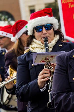 CAGLIARI, ITALY - DECEMBER 8, 2017: Village and parade of Santa Claus, Parco della Musica - Sardinia (Band of Monastir)