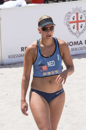 QUARTU SE, ITALY - 2014 JUNE 7: European Beach Volleyball 2014 - women's tournament at the Poetto beach - Sardinia