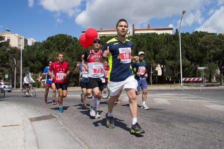 QUARTU SE, ITALY - APRIL 21, 2013: Fourth solidarity marathon - Sardinia
