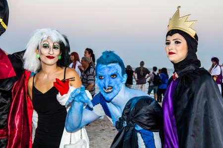 QUARTU SE, ITALY - AUGUST 2, 2015: Beach Cosplay Party - parade costume held at the Marlin Club of Poetto beach - Sardinia