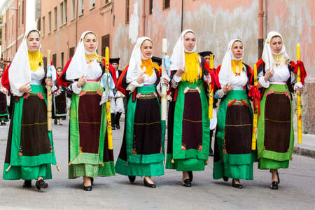 CAGLIARI, ITALY - MAY 1, 2014: 358 Religious Procession of SantEfisio, parade of traditional Sardinian costumes - Sardinia