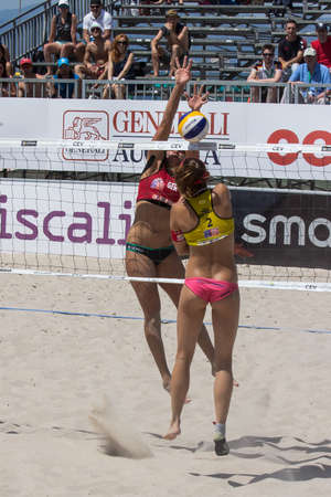 QUARTU SE, ITALY - JUNE 7, 2014: European Beach Volleyball - Women's tournament at the Poetto beach - Sardinia