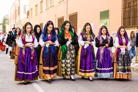 CAGLIARI, ITALY - MAY 1, 2016: 360 Feast of Sant'Efisio, parade of traditional Sardinian costumes - Sardinia