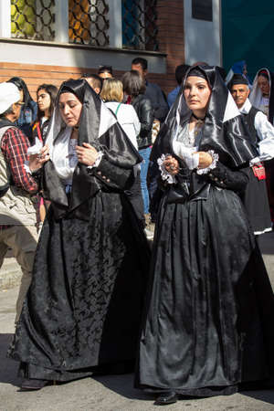CAGLIARI, ITALY - MAY 1, 2015: 359 Procession Religiosa of SantEfisio, parade of traditional Sardinian costumes - Sardinia