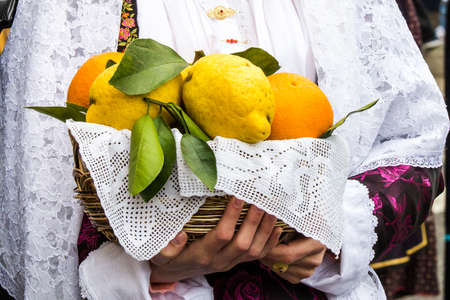 MURAVERA, ITALY - APRIL 2, 2017: 45th Citrus Festival, detail of a traditional Sardinian costume - Sardinia Editorial