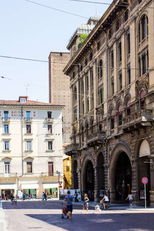 BOLOGNA, ITALY - JULY 22, 2017: architectures of the historic center - Emilia Romagna Editorial