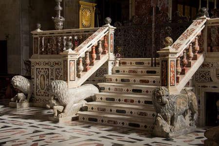 CAGLIARI, ITALY - NOVEMBER 9, 2013: Detail of the interior of the Cathedral of Santa Maria Assunta and Santa Cecilia in the castle district of Cagliari - Sardinia