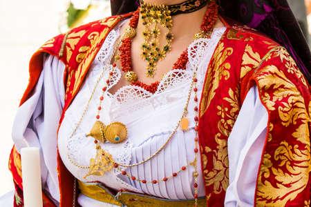 CAGLIARI, ITALY - MAY 1, 2015: 359 Procession of SantEfisio, detail of a traditional Sardinian costume - Sardinia